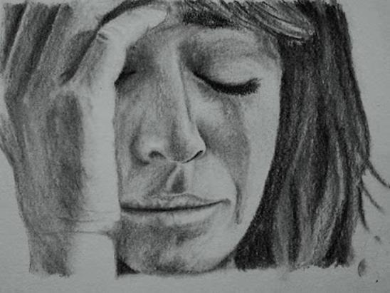 woman crying sad sketch-94410